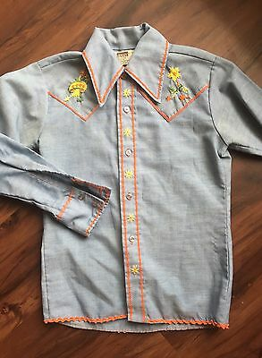 Vintage Chambray Western Shirt With Mushroom Embroidery - Youth Size 12 By MW