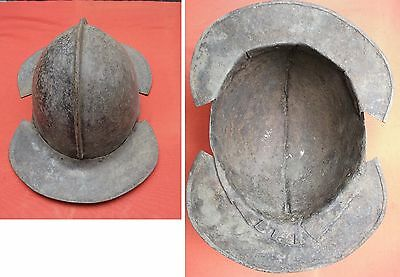Helmet Medieval Iron Hat Kettle Made In 4 Parts Used Portugal Castle Portuguese