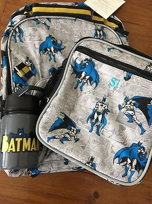 Pottery Barn Kids ALLOVER BATMAN Backpack Small & Water Bottle  No Monogram new