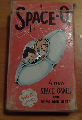 Vintage Arco Kids SPACE-O Atomic Age Playing cards Pilot Blast Off Space Game