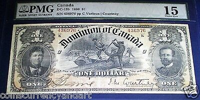 1898 $1, DOMINION OF CANADA Banknote. PMG 15,  Fine . LARGE BANKNOTE