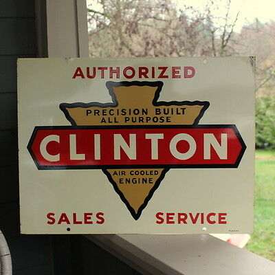 Vintage Clinton Authorized Sales Service Double Sided Sign Air Cooled Engine