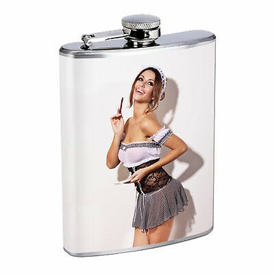 Egyptian Pin Up Girls D1 Flask 8oz Stainless Steel Hip Drinking Whiskey