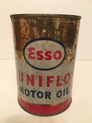 Vintage ESSO UNIFLO Motor Oil Can / Empty 1 Quart