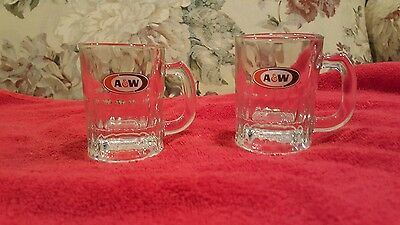"""PAIR of VINTAGE AW ROOT BEER """"Baby Mugs"""" 3.25 tall Heavy Glass"""