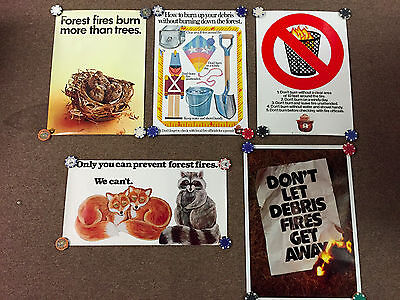 Vintage Smokey The Bear 5 Poster LOT Only You Can Prevent Forest Fires Debris