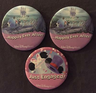 Lot Of 3 Disney Just Engaged Happily Ever After Buttons Pins Pinbacks