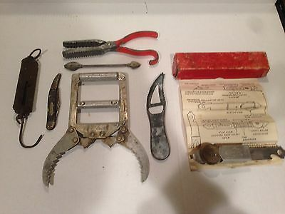 Lot of Vintage Fishing Tools & Misc Fish Grabber Scale Knife Gaff Antique Lures