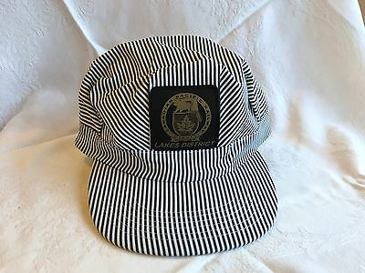 New! Canadian Pacific Railway Lakes District Striped Train Conductor Hat (138)
