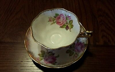 Royal Albert Cup and Saucer Pink Wild Rose Wide Mouth Gold Gilt