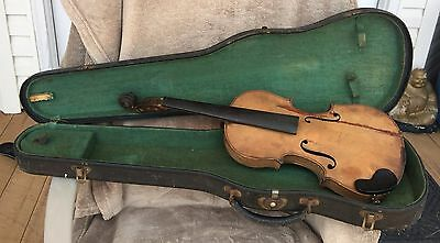 """Antique Violin 19th C. 4/4 full size Project VERY OLD 23-1/2"""" long"""