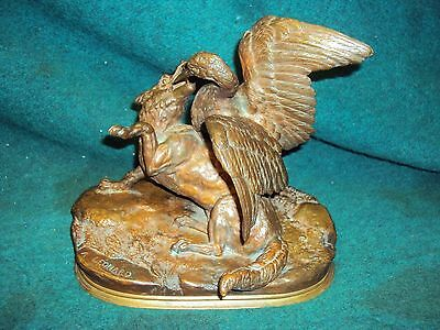 Antique A. Leonard Bronze Lion & Goose