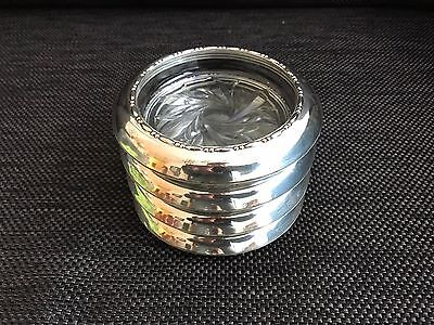 Vintage Amston 145 Sterling Silver & Glass Set of 4 Coasters