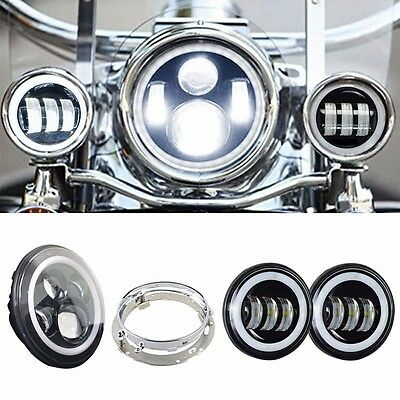 """7"""" LED Daymaker Style Headlight Passing Lamp Fit Harley Davidson Road King FLHR"""
