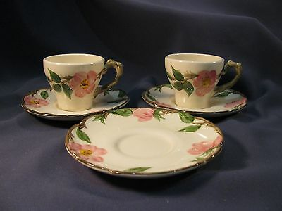 Franciscan Desert Rose TWO Demitasse Cups + THREE Saucers - Old CA USA Marks