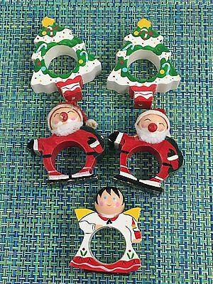LOT OF 5  VTG Christmas WOOD Napkin Ring Holder Set ~ SANTA, CHRISTMAS TREE