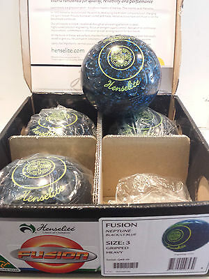 Henselite NEW Fusion Lawn Bowls Size 3 Gripped Neptune!