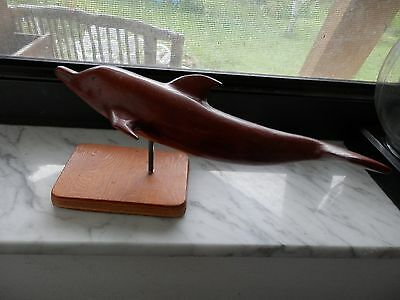 Unique Old Wood Carved Dolphin Sculpture Art on Stand Wooden Dolphin Figurine