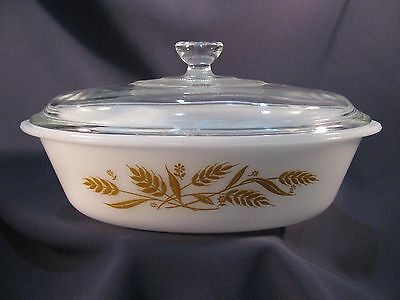 Vintage Glasbake ? Glass Covered Casserole - Wheat Pattern - Very Good Condition