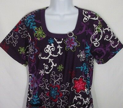 UA Scrubs Medical Nurse Scrub Top Shirt Women Size Medium Purple White Red NWT
