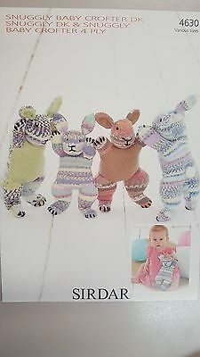 Sirdar Knitting Pattern #4630 Large or Small Bunny to Knit in 4 or 8 Ply