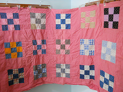 Very Nice Old 9-Patch, Hand Made Quilt Top~Colorful & Cheerful~VGC~74 X 86""