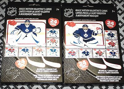 2 Boxes Of Nhl Hockey Magic Motion Valentines 24 Cards 24 Stickers New Authentic