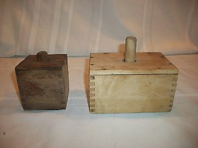 Vintage Primitive Wood Butter Molds Set of 2 Please See Pictures 1-Large 1-Small