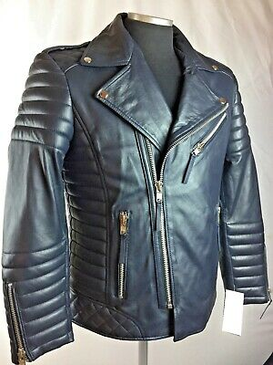 Mens Genuine Lambskin Leather Biker Jacket Motorcycle Style Blue (All Sizes) Nwt