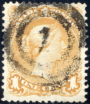 F-VF Used 1¢ Yellow Large Queen #23 - MONTREAL 2-ring #1 Cancel