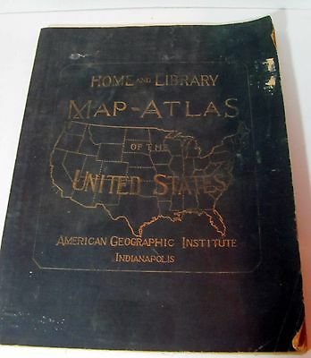Antique 1915 Home and Library Map Atlas of the United States: George F.Cram