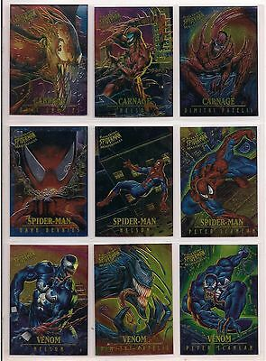1995 Marvel Fleer Ultra Spider-Man Masterpieces Chromium Chase Card Set Of 9 Nm