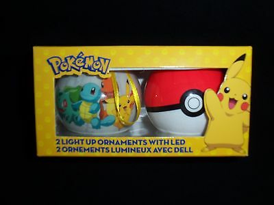 Pokemon Light Up Ornaments with LED Free Shipping Set of 2