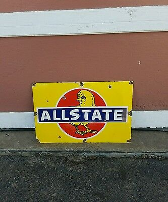 Original porcelain Allstate chicks sign seed feed Farm Barn tractor DeKalb