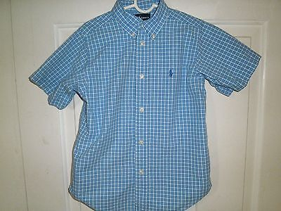 Ralph Lauren 6 Shirt Blue White Check Short Sleeve Cotton Polo Pony Boy Preowned