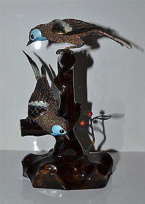 Two Antique Chinese Enameled Vermeil Silver Filagree Birds on Stand