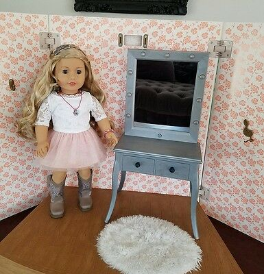 American Girl Tenney Grant Vanity Mirror Make Up Table Dressing Room Stage NEW