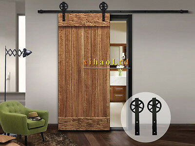Vintage Strap Industrial Sliding Barn Wood Door Spoke Wheel Hardware Track Kit