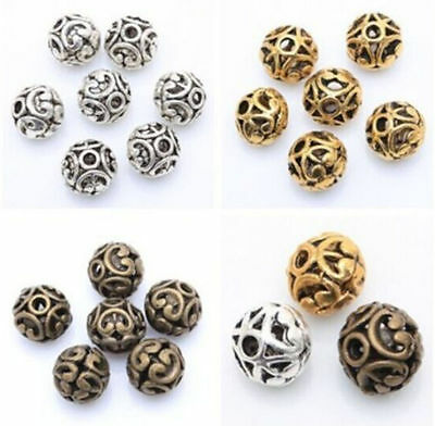 Charm Tibetan Silver Round Shaped Heart Hollow Spacer Bead Jewelry Findings
