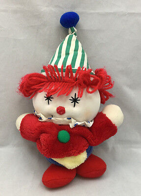 "Clown Baby Crib Pull Red Yellow Blue Green Plush Musical 12"" Toy Vintage 1995"