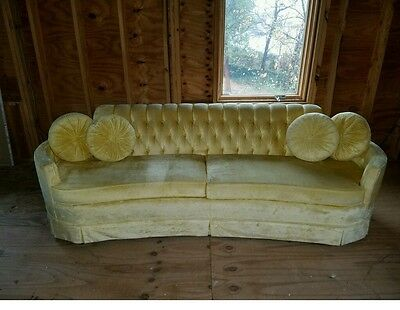 Vintage Sofa Yellow Tufted Couch Mid Century Modern Retro Pillows