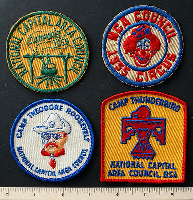4 NCAC Vintage BSA BOY SCOUTS Patch CAMP ROOSEVELT & THUNDERBIRD CIRCUS