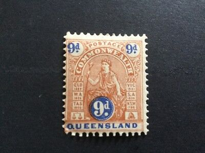 Queensland commonwealth issue 9d brown and blue