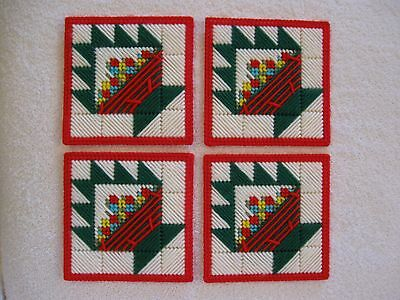 4 Quilt Block Cake Stand Coasters Plastic Canvas Handmade