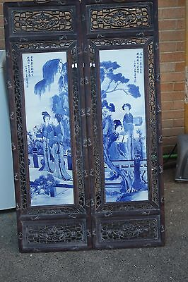 2 Large Vintage/ Antique White Blue Chinese Porcelain  Carved Frame Plaques Tile