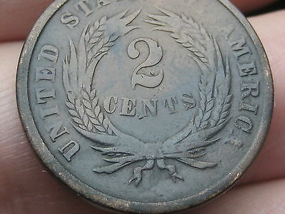 1864 Two 2 Cent Piece- Large Motto, VG Details