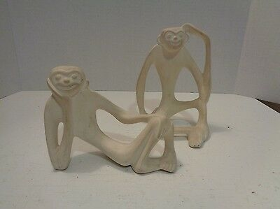 Vintage Pair of Ceramic Monkey Mold Figurines Mid Century Unpainted Kitschy