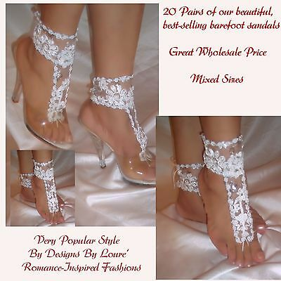 Women's Fashion 20 Pairs of  Bestselling White Flower Barefoot Sandals Wholesale
