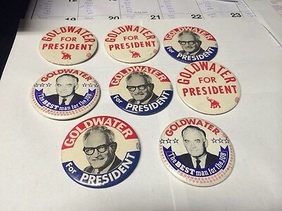 8 Barry Goldwater Presidential Campaign Political Presidential Buttons 1964