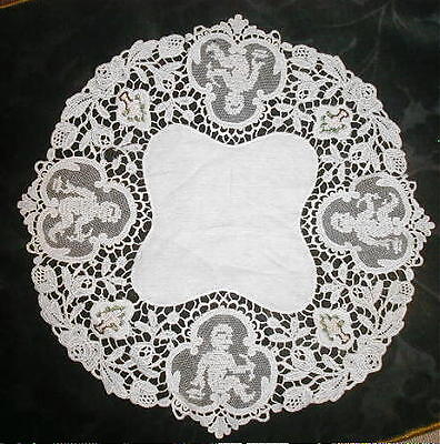Victorian Antique Lace Doily, CUPIDS & Pink Petit Point Flower Baskets Hand Made